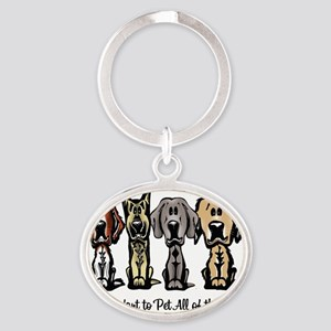 I Just Want to Pet All of the Dogs Oval Keychain